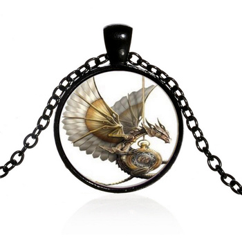 Punk Statement Necklace Dragon Glass Cabochon Bronze Pendant Chain Necklaces Jewelry KQS8