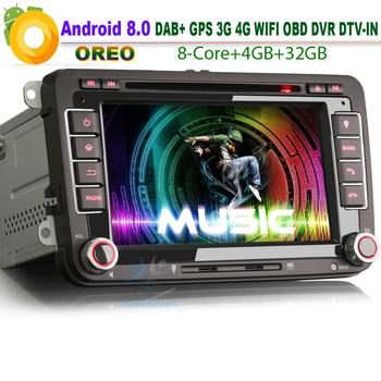 "7 ""Android 8.0 DAB + Sat Nav Araç Stereo Autoradio USB GPS WiFi 3G RDS BT DVD CD Bluetooth VW Touran için Araba Radyo SD DVR DTV"