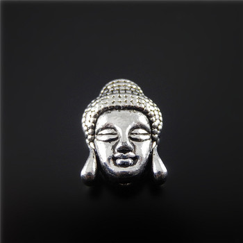 Julie Wang 20PCS Antique Silver Alloy Plated Charm Simulated Buddha Hanging Pendants Jewelry Necklace Beads Accessories